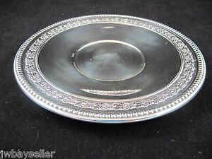 Vintage Wallace Silverplate Small Round Tray Platter Repousse