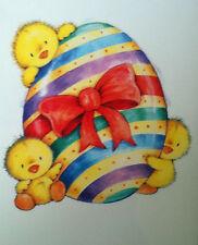 Osterfensterbild Drei Süße Küken auf dem Ei  Fensterfolie wiederverwendbar