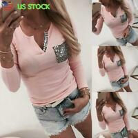 Sexy Womens Blouse T Shirt V Neck Long Sleeve Sequin Tee Ladies Casual Slim Tops