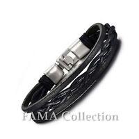 Stylish FAMA Twisted Centre Black Leather Bracelet w/ Steel T-Bar Closure