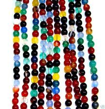 """GR388j Mixed Color Agate 4mm Round Gemstone Beads 16"""""""