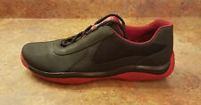 Prada 'Punta Ala' Black Red Leather Low Top Shoes Men Size 12 US 11 UK MSRP $595