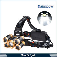 80000LM 5LED Zoom LED Rechargeable 18650 Headlamp Head Light Torch Charger US#