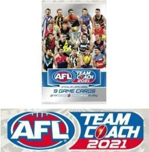 2021 AFL TEAMCOACH TEAM COACH TRADING GAME ALBUM FOLDER + 12 SEALED CARD PACKS