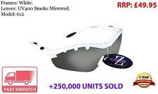 RayZor Uv400 Sports Wrap Sunglasses GunMetal Grey Blue Mirrored Lens RRP£49 612