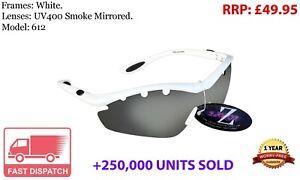 RayZor White Sports Wrap Sunglasses Uv400 Vented Smoke Mirrored Lens (612