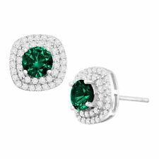 Round-Cut Created Emerald and Cubic Zirconia Halo Stud Earrings Sterling Silver