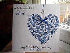 Handmade Personalised China 20th 20 Wedding Anniversary Card Wife Husband