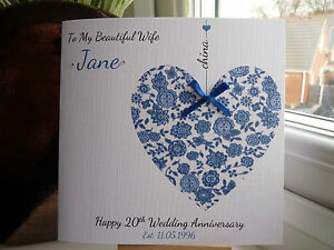 Personalised China 20th 20 Wedding Anniversary Card Wife Husband Couple