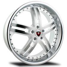 Merceli M6 20x10 5x112 25et White MF w/ Chrome Lip Wheels Rims