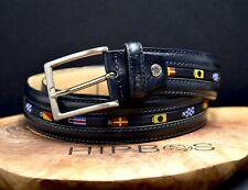 Italian Nautical Mens Leather Belt Black Blue Size 36
