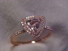 *ESTATE*TRILLION CUT PINK MORGANITE & DIAMOND HALO RING 10K ROSE GOLD sz6.75