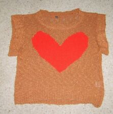 Ladies brown sleeveless sweater jumper tank top with red heart design S/M used