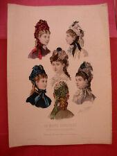 GRAVURE MODE ILLUSTRÉE N 48 - 1877 CHAPEAUX Mme DELOFFRE Signé ANAIS TOUDOUZE