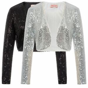 Women Bolero Shrug Crop Cardigan Jackets Long Sleeve Floral Beaded Sequin