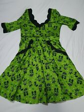 Voodoo Vixen green cat 3/4 sleeve dress 50's rockabilly size XL