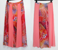 MONSOON Peach Print Pleated Georgette Maxi Full Length Cocktail Skirt UK12 EU40