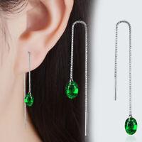 925 Sterling Silver Green Zircon Dangle Tassel Earrings Women Fashion Jewelry