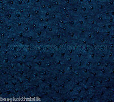 DARK BLUE OSTRICH EMU FAUX LEATHER FABRIC 4 UPHOLSTERY SEAT STOOL BOOK SHOES BAG