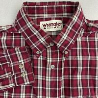 Wrangler Button Up Shirt Mens XL Red Long Sleeve Flannel Plaid Button Down