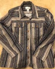 Drapers And Damons Women Blazer Jacket Large Button Stripes Multi Color Blue