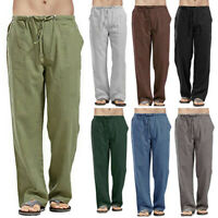 Men Casual Cotton Linen Loose Drawstring Yoga Pants Trousers Elasticated Plus