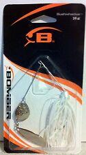 Fish Supplies Bomber Bushwacker 1/4 oz. 2 Silver Blade Spinner Pearl White Skirt
