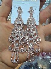 Crystal Rhinestone Long Pierced Chandelier Wedding Statement Earrings Rose Gold