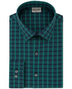 Kenneth Cole Mens Dress Shirt Green Blue Size 17 1/2 (XL) Plaid Slim Fit $69 012