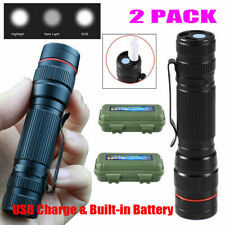 2 Packs USB Rechargeable COB LED Flashlight Zoomable Portable Torch Light w/Box