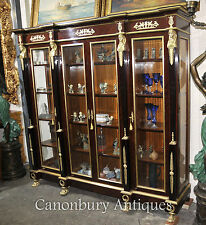 French Empire Breakfront Bookcase Cabinet Furniture