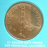 GOLDEN GATE BRIDGE - Landmarks Of America - FRANKLIN BRONZE Medal - Uncirculated
