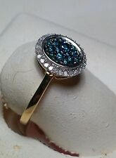 .40cttw Blue & White Diamond Traditional Oval Top 10kt Yellow Gold Ring #3373A