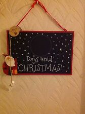 Christmas Countdown Blackboard Santa sign, plaque with chalk Bnwt