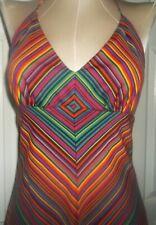 New listing 70s Vintage Bright Bold Multi Color Chevron Stripe Halter Maxi Dress Size 5