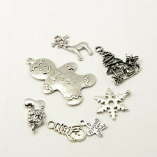 8 Christmas Charms Antiqued Silver Assorted Charms Lot Mixed Set Themed Pendants