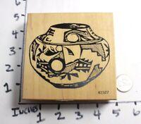 Wooden RUBBER STAMP Southwest Desert Indian Ceramic Pottery Large Stamp