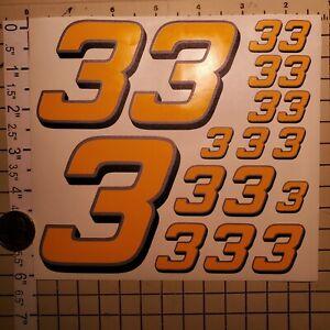 Yellow w/Silver & Black #3's  Racing Numbers Vinyl Decal Sheet 1/10-1/12 slash