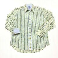 Robert Graham Green Blue Striped Flip Cuff Button Up Shirt Mens Size XL