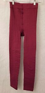 Womens Burgundy Footless Fleeced Lined Striped Leggings Pants Size S OR M