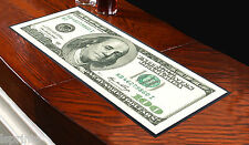 100 Dollar Bill Design Currency Bar Towel Runner Pub Party Mat Beer Cocktail