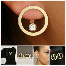 Fashion Women Gold Plated Small Circle Crystal Statement Back hanging Earrings
