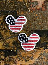 """2 Mickey Mouse American Flag Iron Sew On Patch 2.5"""" L x 2.75"""" W Same Day Ship"""