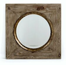 Wall Hanging Mirror - White Washed Wood and Glass