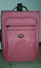 LONGCHAMP LES PLIAGE HOT PINK NYLON LEATHER WHEELED CARRY-ON LUGGAGE BAG !!!