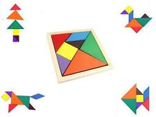 Color Wooden Tangram Brain Teaser Puzzle Educational Developmental Kids Toy