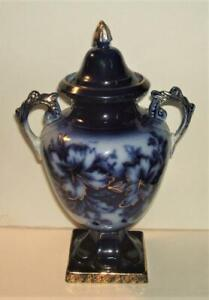 Circa 1901 James Kent Longton Small Flow Blue Urn
