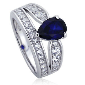 Women 11mm Platinum Plated Silver 1.75ct Sapphire Pear CZ Engagement Ring