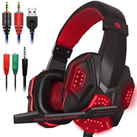 3D Stereo Bass Surround Gaming LED Headset Over ear 3.5 mm for New PC with Mic