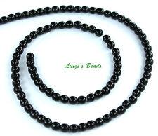 100 Czech Glass Round Druk Beads Jet Black 4mm